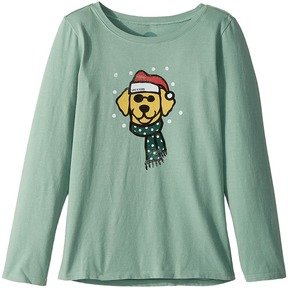 Life is Good Holiday Dog Long Sleeve Crusher Tee Girl's T Shirt