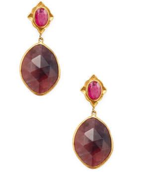 Amrapali Women's Sapphire and Ruby Drop Earrings