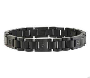 Black Diamond Ax Jewelry Mens 1/10ct Bracelet In Stainless Steel.
