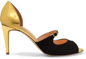 Rupert Sanderson Lorna Satin And Metallic Leather Sandals - Black