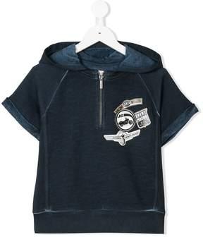 John Galliano logo patch short sleeve hoodie