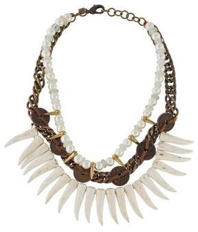 Dannijo Faux Pearl, Beads & Coin Multistrand Collar Necklace