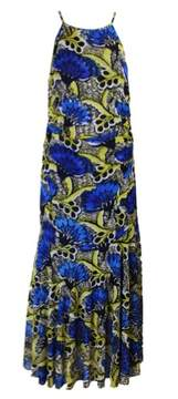 Nine West Women's Printed Mesh Halter Maxi Dress (6, Bright Surf/Sunflower)