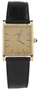 Baume & Mercier 18K Yellow Gold & Black Leather Band Vintage 20mm Mens Watch