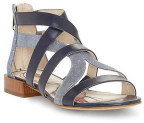 Louise et Cie Almeyna Leather and Denim Block Heel Sandals