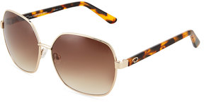 Oscar de la Renta Large Angled Square Metal Sunglasses