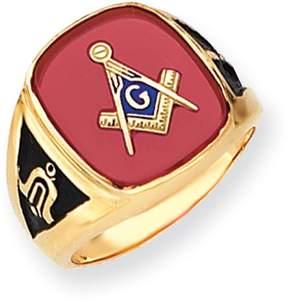 Ice 14k Men's Synthetic Ruby Masonic Ring