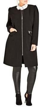 City Chic Plus Long Sleeve Coat