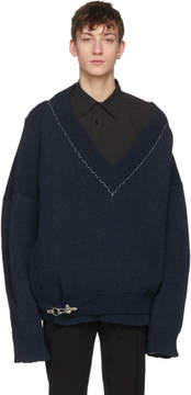 Raf Simons Navy Classic Oversized V-Neck Sweater