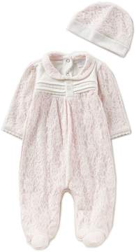 Edgehill Collection Baby Girls Newborn-6 Months Floral-Print Footed Coverall & Hat Set