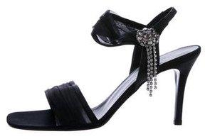 Karen Millen Crystal-Embellished Satin Sandals w/ Tags