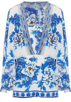 Camilla Cape-Effect Crystal-Embellished Floral-Print Silk Crepe De Chine Playsuit