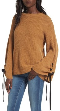 BP Women's Lace-Up Sleeve Sweater