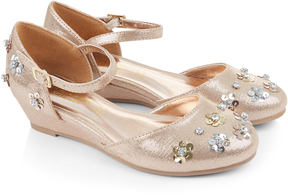 Monsoon 2-Part Sequin Flower Wedge Shoes
