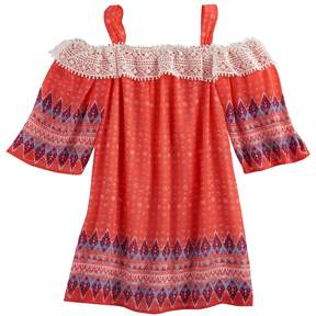 My Michelle Girls 7-16 Off Shoulder Lace Trim Bell Sleeve Printed Top