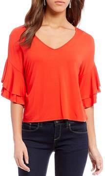 Daniel Cremieux Monica Tiered Ruffle Sleeve Knit Top