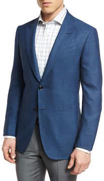 Ermenegildo Zegna Manhattan Textured Two-Button Sport Coat, Blue