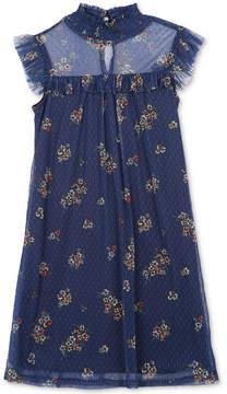 Speechless Big Girls Floral-Print Dot-Mesh Dress