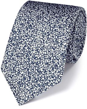 Charles Tyrwhitt White and Blue Silk End-On-End Luxury Tie