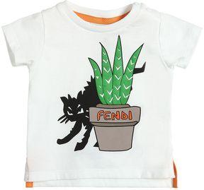 Fendi Cat Printed Cotton Jersey T-Shirt