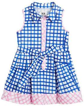 Milly Minis Sleeveless Check Shirt Dress, Size 4-7