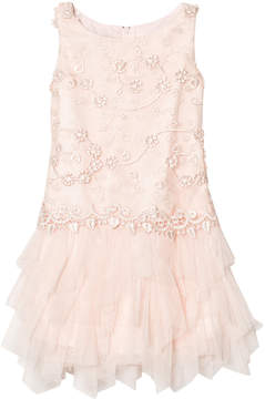Kate Mack Biscotti Pink Lace and Tulle Skirt Dress