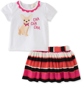 Kate Spade New York Cha Cha Cha Tee W/ Striped Skirt, Size 12-24 Months