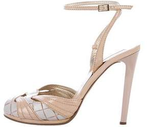 Roberto Cavalli Leather Cutout Sandals