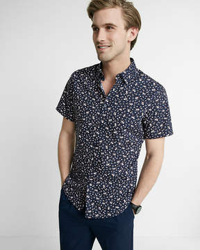 Express Slim Floral Short Sleeve Cotton Shirt