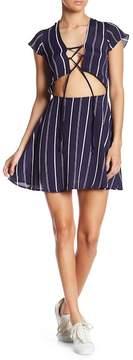 Flynn Skye Lulu Stripe Lace Front Cutout Mini Dress