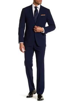 Kenneth Cole Reaction Blue Plaid Two Button Notch Lapel Techni-Cole Performance Trim Fit Suit