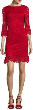 Donna Ricco Women's Bell-Sleeve Lace Dress