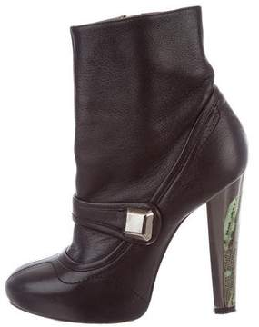 Barbara Bui Leather Round-Toe Ankle Boots