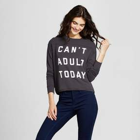 Fifth Sun Women's Can't Adult Today Graphic Pullover Sweatshirt Juniors') Black