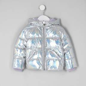 River Island Mini girls silver high shine puffer coat