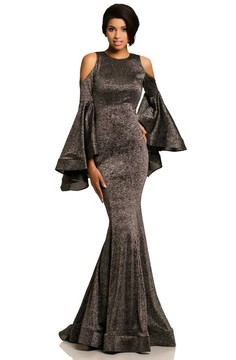 Johnathan Kayne 8111 Bell Sleeve Glitter Knit Gown