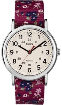 Timex Women's Weekender Watch, Violet Floral Reversible Nylon Slip-Thru Strap