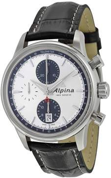 Alpina Alpiner Chronograph Automatic Silver Dial Black Leather Men's Watch