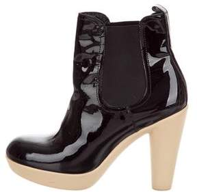 Lanvin Patent Leather Round-Toe Ankle Boots