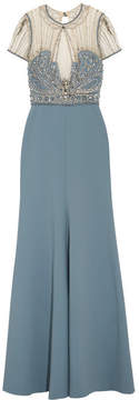 Jenny Packham Embellished Crepe, Tulle And Lace Gown - Blue