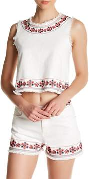 Dee Elly Embroidered Frayed Tank