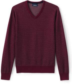 Lands' End Lands'end Men's Fine Gauge Supima Birdseye Pattern V-neck Sweater