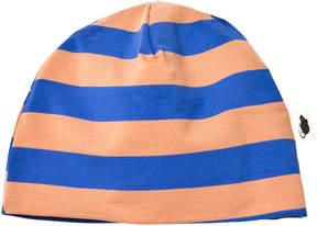 Mini Rodini Peach and Blue Striped Beanie Hat