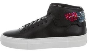 Buscemi Leather Sequin-Trimmed Sneakers