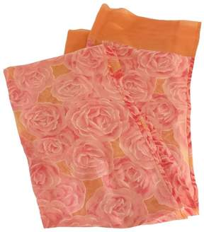 Saint Laurent Pink & Orange Rose Print Scarf