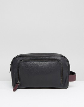 Ted Baker Zip Leather Toiletry Bag In Black