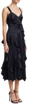 Cinq à Sept Gigi Feather Silk Ruffle Dress