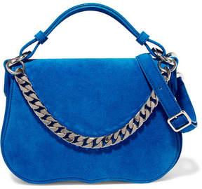 Calvin Klein Chain-trimmed Suede Shoulder Bag - Bright blue