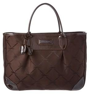 Longchamp Logo Jacquard & Verni Patent Tote. - BROWN - STYLE