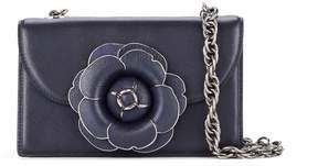 Oscar de la Renta Navy Leather Tro Bag